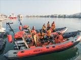Paraplegic refugee rescue operation in the maritime region of Chios